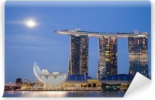 Vinyl Fotobehang Maan over Marina Bay Sands
