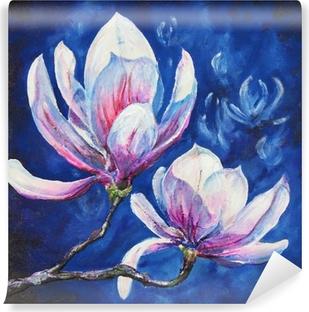 Vinyl Fotobehang Magnolia acryl geschilderde