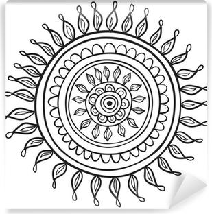 Vinyl Fotobehang Mandalapatroon het zwart en wit in vector