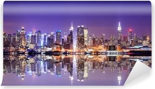 Vinyl Fotobehang Manhattan Skyline met Reflections