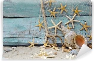 Vinyl Fotobehang Maritiem Decoratie: visnet, schelpen en zeesterren