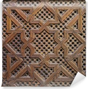 Vinyl Fotobehang Marokkaanse Cederhout Arabesque Carving