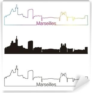 Vinyl Fotobehang Marseille skyline lineaire stijl met regenboog
