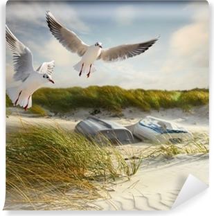 Vinyl Fotobehang Meeuwen, duinen en vissersboten