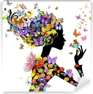 Vinyl Fotobehang Meisje, mode, bloemen met vlinders