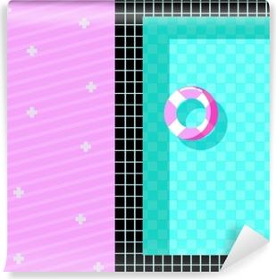Vinyl Fotobehang Memphis stijl ontwerp met zwembad en zweven pictogrammen, kleurrijk ontwerp. vectorillustratie