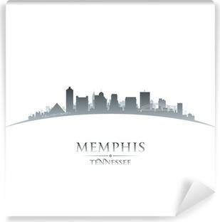 Vinyl Fotobehang Memphis Tennessee skyline silhouet witte achtergrond