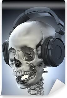 Vinyl Fotobehang Menselijke schedel met een hoofdtelefoon