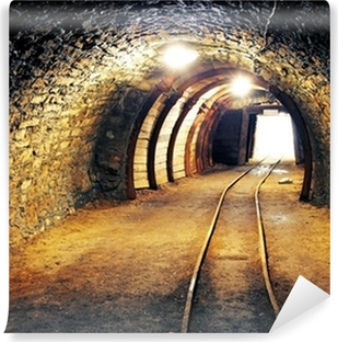 Vinyl Fotobehang Mijn goud ondergrondse tunnel spoorweg