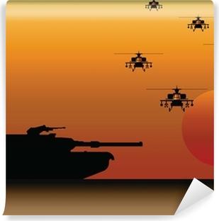 Vinyl Fotobehang Militaire Tank en Helikopters