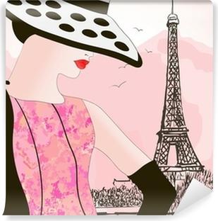 Vinyl Fotobehang Mode vrouw in Parijs