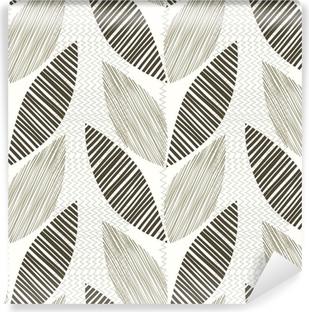 Vinyl Fotobehang Monochrome naadloze patroon van abstracte bladeren.