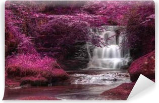 Vinyl Fotobehang Mooie afwisselende gekleurde surrealistisch watervallandschap
