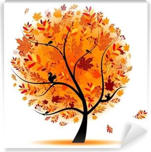 Vinyl Fotobehang Mooie herfst boom voor uw ontwerp