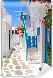 Vinyl Fotobehang Mooie witte straten van Mykonos, Griekenland