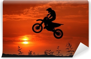 Vinyl Fotobehang Motorcross in de zonsondergang