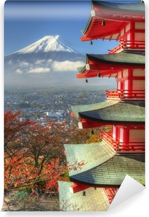 Vinyl Fotobehang Mt. Fuji en Autumn Leaves op Arakura Sengen Shrine in Japan