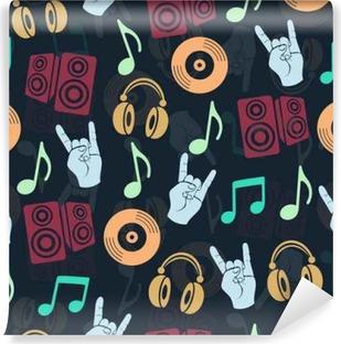 Vinyl Fotobehang Muzikale vector achtergrond, muziek accessoires naadloos patroon. Silhouette tekening kleurrijke koptelefoon, schijf CD, plaat, luidsprekers, notities en gebaar geit een donkere
