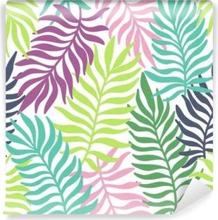 Vinyl Fotobehang Naadloos exotische patroon met palmbladeren