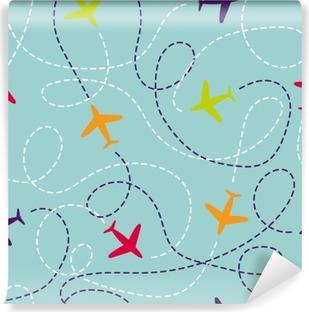 Vinyl Fotobehang Naadloos patroon met vliegtuigen. Vector achtergrond met kleurrijke vlakken. Reis rond de wereld concept. Illustratie kan worden gebruikt voor behang, achtergronden, web page design, kinderen textiel.