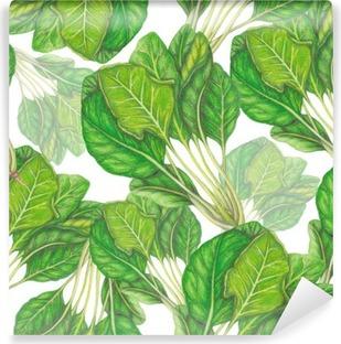 Vinyl Fotobehang Naadloos patroon van de hand getekend spinazie