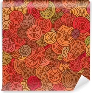 Vinyl Fotobehang Naadloze abstracte rode patroon van gestreepte cirkels in cirkels.