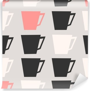 Vinyl Fotobehang Naadloze Coffee Cups Pattern