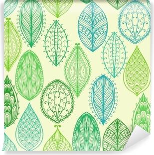 Vinyl Fotobehang Naadloze hand getekende vintage patroon met groene sierlijke bladeren