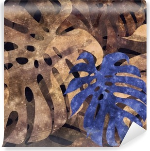 Vinyl Fotobehang Naadloze herhaalbare monstera blad achtergrond