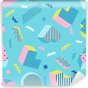 Vinyl Fotobehang Naadloze kleurrijke oude school geometrische blauwe achtergrondpatroon, memphis ontwerpstijl. vectorillustratie