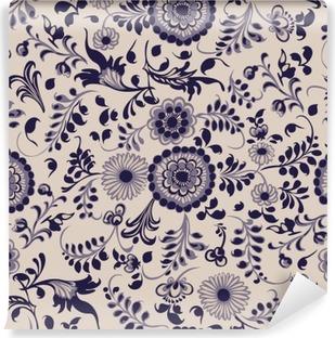 Vinyl Fotobehang Naadloze patroon, bloemen decoratieve elementen in gzhel stijl