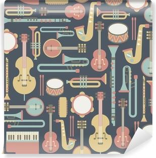 Vinyl Fotobehang Naadloze patroon met muziek instrumenten. op een donkere achtergrond