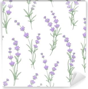 Vinyl Fotobehang Naadloze patroon van lavendel bloemen op een witte achtergrond. waterverfpatroon met lavendel voor stoffenmonster. naadloos patroon voor stof. vectorillustratie