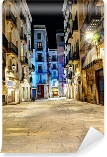 Vinyl Fotobehang Nacht scène in gotische wijk, Barcelona, Spanje