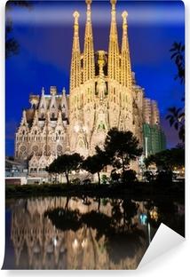 Vinyl Fotobehang Nacht uitzicht van de Sagrada Familia in Barcelona. Spanje