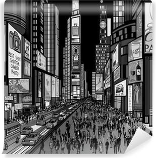 Vinyl Fotobehang New York - avond uitzicht van Times Square