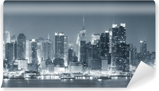 Vinyl Fotobehang New York City Manhattan zwart en wit