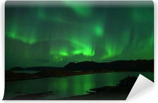 Vinyl Fotobehang Noorderlicht boven Noordkaap. 8 oktober 2013