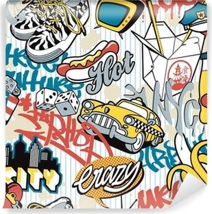 Vinyl Fotobehang NY city, stedelijke naadloze collage-elementen