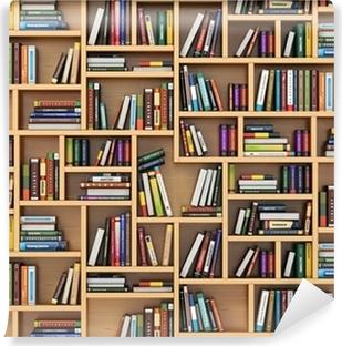Vinyl Fotobehang Onderwijs concept. Boeken en handboeken over de boekenplank.