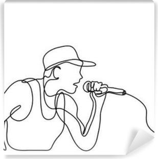 Vinyl Fotobehang Ononderbroken lijn tekening van zanger met microfoon