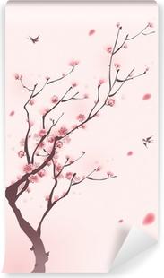 Vinyl Fotobehang Oosterse stijl schilderen, kersenbloesem in het voorjaar