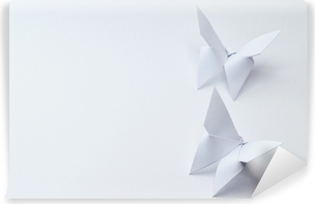 Vinyl Fotobehang Origami vlinders op witte achtergrond