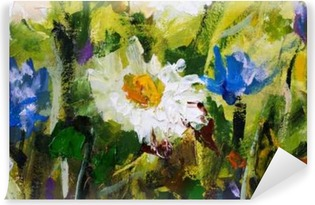 Vinyl Fotobehang Origineel olieverfschilderij van bloemen, mooie veld bloemen op canvas. Modern Impressionism.Impasto kunstwerk.