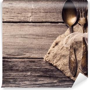 Vinyl Fotobehang Oude vork en lepel op houten achtergrond