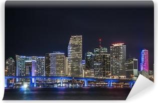Vinyl Fotobehang Overzicht van het financiële centrum van Miami in de nacht