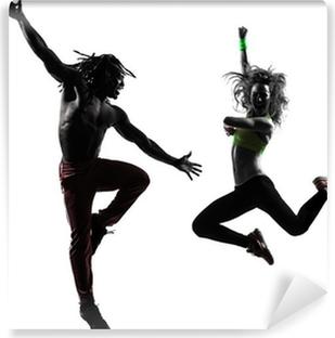 Vinyl Fotobehang Paar man en vrouw te oefenen fitness zumba dansen silhouet