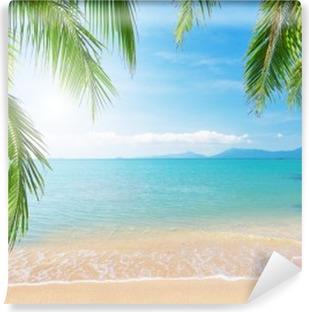 Vinyl Fotobehang Palmbomen en tropische strand