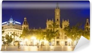 Vinyl Fotobehang Panorama City in de avond van plaatsen. Valencia