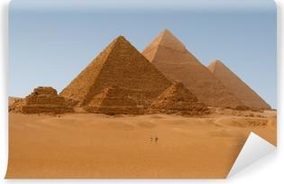 Vinyl Fotobehang Panoramische uitzicht op zes Egyptische piramiden in Giza, Egypte